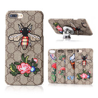 Wholesale duck back - For iPhone 8 8plus Luxury Embroidery Butterfly Duck Grid Leather Phone Case for iPhone7 7plus 6 6s Plus Fashion Girl Gift Back Cover
