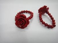 anillos de coral para mujer al por mayor-Anillo de coral Anillo modelos de mujer regalo de cumpleaños fino océano coral rojo anillo venta al por mayor boutique