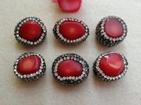 Wholesale Coral Connector Bead - 10Pcs Natural Coral Druzy Stone Beads With Pave Rhinestone Crystal Connector Spacer Beads For DIY Making Bracelet necklaceJewelry SA37