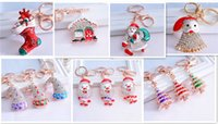 Wholesale Santa Claus Key Chain - best quality 7designs christmas gift Santa Claus keychain diamond Shield Metal Keychain Pendant Key Chains Keychains D373