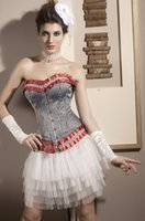 Wholesale Cheap Steampunk Corset - Wholesale-Waist Training Corsets Wholesale Cheap New Arrival Red Ruffle Scarlet Corset Welcomed Steampunk Dress Sexy Bridal Corset Tops