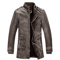 Wholesale Mens Grey Leather Jacket - Fall-Autumn Winter Fashion Cool Mens PU Leather Fleece Warm Thick Jacket , Male Stylish Casual Fall Thermal Jackets , Coats For Man