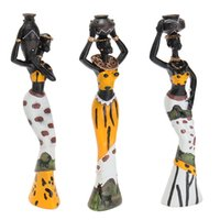 Wholesale Ceramic Statues - 3Pcs Retro African Lady With Vase Ornament Ethnic Statue Sculptures National Culture Figurine Home Decor Art Crafts Gifts