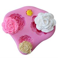 Wholesale rubber soap molds - Silicone Beautiful Rose Shape fondant cake molds soap chocolate mould for the kitchen baking