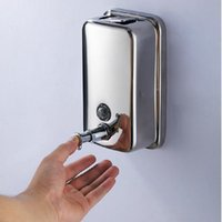 Wholesale Bathroom Wall Soap Dispenser - Free shipping Wholesale And Retail Promotion Wall Mounted Stainless Steel Bathroom & Kitchen Sink Liquid Soap Dispenser 500ML