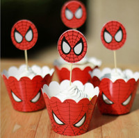 Wholesale Decorated Boxes - Red Spider-Man Paper Cupcake Wrappers Decorating Boxes Cake Cup With Toppers Picks For Kids Xmas Birthday Party Decoration 240pcs