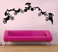 Wholesale Animal Stunts - Motorcycle Stunt wall sticker motorbike poster wall decal Vinyl stickers black Art wallpaper adesivo de parede DIY home decor