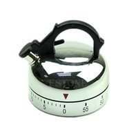Wholesale Teapot Alarm Clock - Free Shipping 60 Minute Counting Teapot Shaped Kitchen Cooking Alarm Clock Timer Mechanical order<$18no track