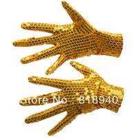 Wholesale Fingerless Dance Gloves - Wholesale-Pair of Sequin Glove Dance Michael Jackson Billie Jean Fancy Dress Silver Golden