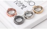 cam kalpler altın toptan satış-10 adet 25mm Gül Altın veya Gümüş kaplama Kalp DIY Cam kristal Yaşam Hafıza Locket kolye ile yüzer lockets kolyeler ve bilezikler