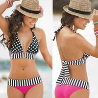 Wholesale Polka Dot Bikini Cheap - Fashion Polka Dot Striped Print Bikini Push-Up Halter Bikinis Summer Cheap Beachwear Swimwear Triangle Bikini Suit CCF0307
