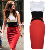 Wholesale Ladies Dresses Beckham - 2015 New Celebrity Sexy Midi Bodycon Dress Women Ladies White Red Pencil Dress Slimming Victoria Beckham Dress Plus Size XXL Y76