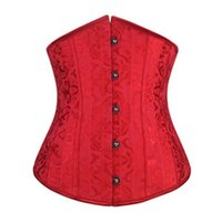 Wholesale 24 Bone Corset - 2015 hotsell Dobby waist training corsets and bustiers black underbust corset steel cincher bustiers for women 24 steel boned short corset
