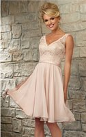Wholesale Sexy Orange Colored Dresses - Beautiful V Neck Knee Length Blush Colored Lace Chiffon Bridesmaid Dresses Short Party Gowns Custom Made Sexy