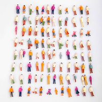 Wholesale Ho Model Train Wholesalers - Durable 100pcs HO Scale 1:100 Mix Painted Model ABS Plastic Train Park Street Passenger People Figures for Landscope