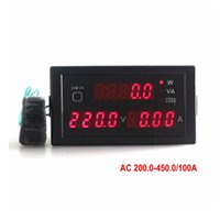 Wholesale Ac Dc Volt Amp Meters - 1pcs Digital Multi-function AC Voltmeter Ammeter Amp Volt Power Meter Monitor AC 200-450 V AC 0-100A with Red LED Display