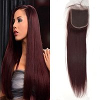 düz kırmızı saç uzantıları toptan satış-Üst Dantel Kapatma (4 * 4) Moğol İnsan Saç Kapatma Düz 99j kırmızı renk Saç Uzantıları Saç Adet G-EASY