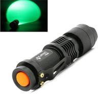 führte cree glühbirne taschenlampe großhandel-Freies Epacket, grünes LED Birnen-Blitzlicht 7W 300LM CREE Q5 LED kampierendes Taschenlampen-Fackel-justierbarer Fokus-Summen wasserdichte Taschenlampen Lampe