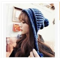 Wholesale Knitted Hats Ball Pattern - Korean Fashion Knitted Hat Girl Lovely Warmer Beanie With Two Balls Colorful Dot Pattern Mix Colors