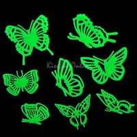 Wholesale Decorated Butterflies - Butterflies Glow in the Dark Fluorescent Plastic Home Decorate Wall Sticker K5BO