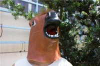 Wholesale Cartoon Head Costume - Creepy Horse Mask Head Halloween Costume Theater Prop Novelty Latex Rubber Party Masks party animal cartoon mask fashion