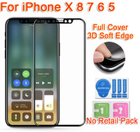 Bulk Sale 3D soft edge Glass per iphone X 8 6 7 plus in fibra di carbonio Full cover Pellicola proteggi schermo in vetro temperato