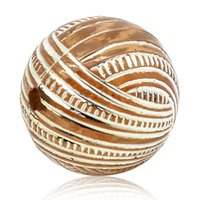 Wholesale Striped Acrylic Spacer Round Beads - 2015 New 30PCs Acrylic Spacer Beads Striped Pattern Round Ball Coffee 16mmDia. Free Shipping