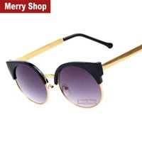 Venda por atacado Hot-2015 Retro New Woman Cat Eye Sunglasses vintage mulheres redondas do metal do ouro Girls 'Óculos de sol Óculos Moda feminina