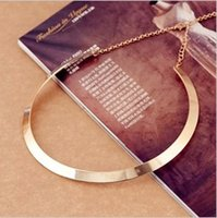 Wholesale Gold Metal Choker Collar - Fashion Making simple shape metal chokers texture collar necklace (narrow version of gold) 2016 New necklace Jewelry