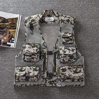 Wholesale Military Jacket For Thin Men - 5 Colors Men Outdoor Camouflage Military Vest Tactical Mesh Hunting Shooting Vests Sleeveless Jackets for Photographer Waistcoat