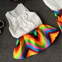 Wholesale Chevron Skirts Wholesale - Girl Dress Kids Sets Best Suits Child Clothes Kids Clothing 2015 Summer White Tank Tops Chevron Skirt Children Set Girl Suit Outfits C8355