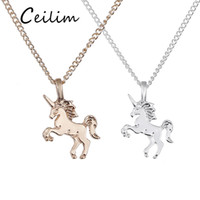 Wholesale 14k link chain - Fashion Necklace Jewelry Unicorn Pendant Necklace Short Women Clavicle Chain Gold Silver Animal Necklace Alloy Pendants With Gift Card