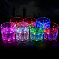 Wholesale Light Up Drinking Glasses Wholesale - LED Flashing Beverage Drink Bar Cups Party Club Mug Wine Light Up Flash Cup Colorful Flashing Cups OOA3586