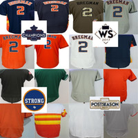 Barato 2017 Houston Strong WS Campeones Parche Mens Womens Youth Toddler 2 Alex Bregman Blanco Azul Naranja Blanco Gris Green Baseball Jerseys