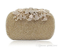 Wholesale Evening Party Elegant Purses - Leather Handbags Swarovski Crystals Bridal Clutches Wedding Evening Prom Party Hand Bag Hote Sale Elegant Luxury Purse Clutch Evening bags