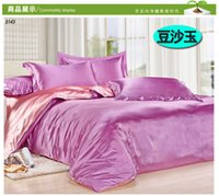 Wholesale Satin Comforters - Wholesale-Double sides satin silk bedding set artifcial silk bed set silk comforter cover sheet pillowcases solid color water blue B5029