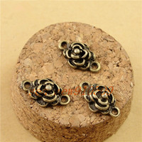 Wholesale Jewelry Connectors Pieces - (100 pieces lot) 16*10MM antique bronze plated vintage style flower carve charm connector link diy jewelry findings hm062