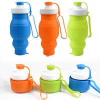 Wholesale Easy Bicycle - Silicone Sports Kettle New Fashion Telescopic Water Bottles Easy To Carry For Multi Color 18 8yf C R