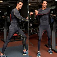 Wholesale Tight Mens Suit - Wholesale-2015 Mens Quick Dry Long Sleeve Compression shirt pants suit elastic running shirt Gym workout fitness tight sportswear