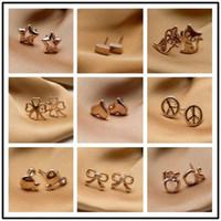 Wholesale Mini Rose Bows - 5pair mini rose gold tone stud earrings multi designs heart star cross peace bow