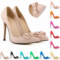 Wholesale Red Bowtie Peep Toe Heels - Fashion Womens Sexy Pointed Toe Patent Leather High Heels Corset Pumps Party Court Shoes US 4-11 302-19PA