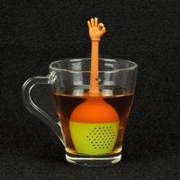 Wholesale Tea Set Teaspoons - 5pc set Hot Sale gesture Tea Bags Strainers Silicone Teaspoon Filter Infuser Silica Cute Teabags for Tea & Coffee Drinkware free ship LY