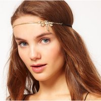 Wholesale Hair Accessories Dragonfly - Headbands New Fashion Women Gold Plated Dragonfly Hair Accessories For Women Wholesale Elegant Brief Alloy Chain Hair Jewelry SHR291