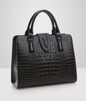 Wholesale high strung beads - High quality Genuine leather bag ladies crocodile pattern Women messenger bags handbags women famous brand designer