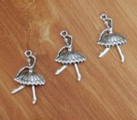 Wholesale Ballerina Dancers - Ballet Ballerina Dancer Charms Pendant Silver Plated 2 Sided 20*33mm TS437 pendant pin pendant clock