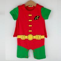 Wholesale Toddler Costume Boy Cotton - Infant Baby Toddler Boys Robin Romper Costume Superhero Halloween Short Sleeves Summer