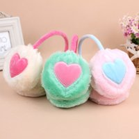 Wholesale Winter Ear Cover Wholesale - 12pcs lot Sweet Fluffy Heart Pattern Ear Muffs Soft Plush Earmuffs Covers Woman's Winter Outdoor Necessity GL504