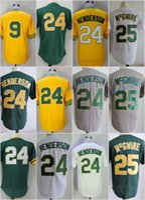 Wholesale Marks 24 - Oakland 9 Reggie Jackson 24 Rickey Henderson 25 Mark McGwire Flexbase Jerseys Cool Base Throwback Stitched Greem White Yellow Grey Mesh Re