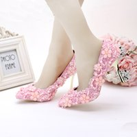 5af864210bcb 2016 Lovely Pink Pearl Lace Wedding Shoes Pointed Toe High-heeled Emmy Bridal  Shoes Mother of The Bride Party Prom Shoes