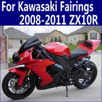 untere verkleidung für kawasaki ninja großhandel-Niedrigster Preis Verkleidung Kit für Kawasaki ZX10R 2008 2009 2010 2011 Ninja Verkleidung ZX 10R 08 - 11 rot schwarz Motorrad Set QP35